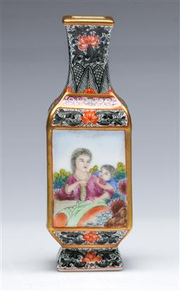 Sale 9098 - Lot 37 - A Chinese Enamelled Four Sided Vase, Panels Decorated with Landscape and Figural Scenes (H 14cm)
