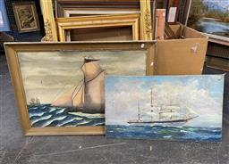 Sale 9135 - Lot 2082 - 2 Works: Artists Unknown, maritime oil paintings (AF) & Another, largest is 73 x 103 cm (frame size)