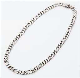 Sale 9123J - Lot 340 - A heavy sterling silver figaro link chain with box clasp and fold over safety clip. L: 450mm x 8mm x 2mm
