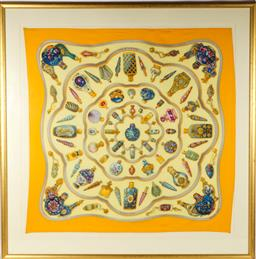 Sale 9138 - Lot 173 - Hermes Silk Scarf, Featuring Snuff Bottles (Frame Size 112 x 112cm)