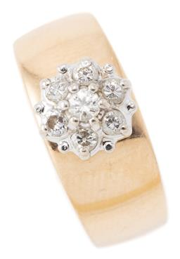 Sale 9164J - Lot 478 - A 14CT GOLD DIAMOND CLUSTER RING; 7.5mm wide tapering band top applied with a rhodium plated wire basket collet set with 7 round bri...
