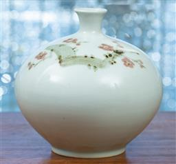 Sale 9164H - Lot 73 - A bulbous ceramic vase featuring cherry blossom branch, Height 19cm