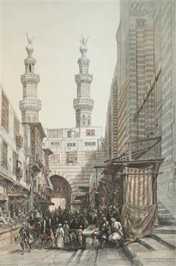 Sale 9210A - Lot 5058 - DAVID ROBERTD RA (1796 - 1864) - Minarets and Grand Entrance to the Mosque of the Metwalys, Cairo 48 x 32 cm (frame: 63 x 46 x 2 cm)