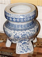 Sale 8080A - Lot 17 - A large Chinese tri-footed blue and white Jardiniere. Height 43cm