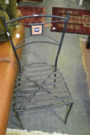 Sale 8093 - Lot 1047 - Set of 4 Metal Outdoor Chairs with Tile Detail