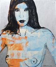 Sale 8309 - Lot 570 - David Bromley (1960 - ) - Blue Nude 183 x 152cm (framed & ready to hang)