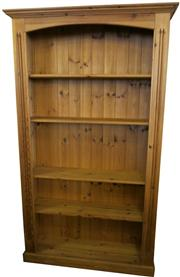Sale 8258A - Lot 11 - Contemporary pine bookcase of solid construction with adjustable shelves, RRP $495, W107 x W32 x H182cm