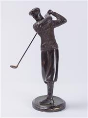 Sale 8575J - Lot 51 - Artist unknown, early 20th Century - A bronze figure of Deco. period Golfer