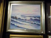 Sale 8437 - Lot 2079 - Framed Painting on Canvas Seascape signed T. Aglow