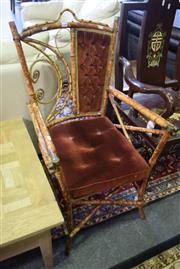 Sale 8550 - Lot 1399 - Cane Carver with Brass Fittings and Fabric Seat and Back