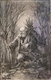 Sale 8583A - Lot 5131 - Zoltan Fenyes (1924 - 1997) - Old Branch Collector 44.5 x 29.5cm