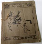 Sale 8639 - Lot 95 - Inns of Court OTC (Officer Training Corps) Squadron War Record 1914-1919, History and Roll of Honour of Men and Horses, 44 pages, pr...