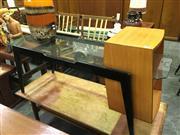 Sale 8643 - Lot 1120 - Mid-Century Queensland Maple Sidetable with Glass Top