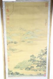 Sale 8827D - Lot 100 - Framed Chinese Artwork with Mountain and River Scene, H 146cm, W 53cm