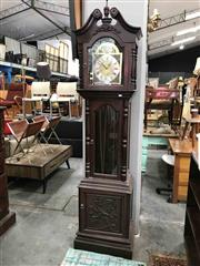 Sale 8904 - Lot 1049 - Chinese Carved Rosewood Longcase Clock (has weights/ pendulum)