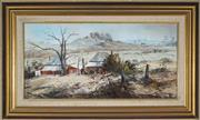Sale 8973 - Lot 2020 - Fay Joseph (1939 - ) - Winter Morning Down the Tumbarumba Road, Snowy Mountains, 1977 36 x 75 cm (frame: 58 x 96 x 5 cm)