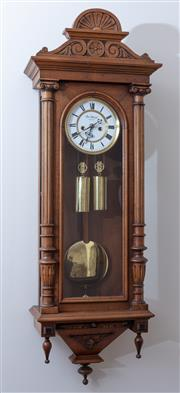 Sale 9005H - Lot 28 - A Carl Sampl Vienna regulator style clock in a walnut case, the enamelled dial with Roman Numerals, the case with corinthian column...