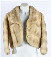 Sale 9003F - Lot 1 - A Beige Fur Jacket By Cornelius Original Sydney, with Pearl domed Buttons, Size XS