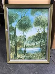 Sale 9045 - Lot 2074 - Large Framed Australian landscape print on board