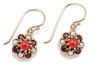 Sale 9083 - Lot 337 - A PAIR OF 9CT GOLD GEMSET CLUSTER EARRINGS; 9mm round daisy clusters each centring a cabochon coral surrounded by 4 rubies and 4 see...