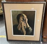 Sale 9077 - Lot 2081 - Artist Unknown Young Girl Braiding Her Hair, oil on board, frame: 62 x 54 cm, unsigned -