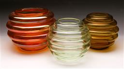 Sale 9098 - Lot 267 - Group of three coloured glass ribbed vases (largest H18cm) (Chipped)