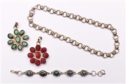 Sale 9119 - Lot 198 - A small collection of jewellery to include emerald and ruby coloured pendants