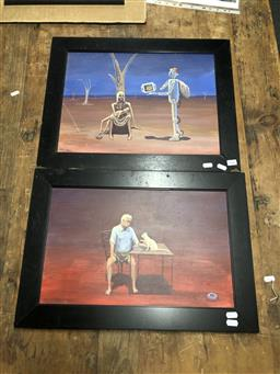 Sale 9152 - Lot 2062 - Geoff Michel (two works)  Merry christmas & Misty Wants Breakfast, oil on boards, frame: 43 x 54 cm and 38 x 55 cm, signed -