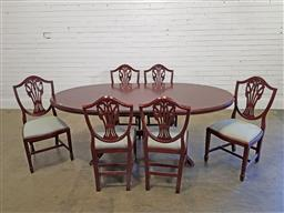 Sale 9174 - Lot 1083 - Twin pedestal dining table with 6 chairs (h:75 x w:216 x d:110cm)