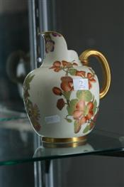 Sale 7876 - Lot 2 - Royal Worcester Jug Decorated with Flowers