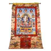 Sale 8000 - Lot 324 - A Tibetan prayer thangka painted with a central Buddha figure surrounded by various religious figures.
