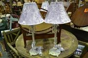 Sale 8035 - Lot 1059 - Set of 4 Table Lamps w Purple Shades and Crystal Drops