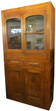 Sale 8258A - Lot 12 - Kauri pine dresser/bookcase in Industrial style, RRP $1250,  W106 x D41 x H201cm