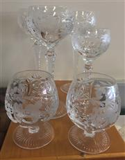 Sale 8310A - Lot 66 - A quantity of cut crystal stemwares, including three hock and two brandy glasses