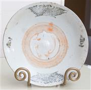 Sale 8550H - Lot 31 - An oriental Ming style plate with white underglaze and black and orange decoration, D 25cm