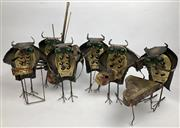 Sale 8783 - Lot 45 - A six piece mid century modern brutalist torch sculpted owl orchestra with green glass eyes, in the style of Curtis Jere, some piece...