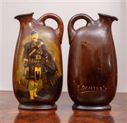Sale 8804A - Lot 31 - A pair of Royal Doulton Kingsware Dewars whisky decanters with Scotsman, both restored, H 21cm