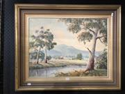 Sale 8811 - Lot 2061 - Ray Williamson - Moonlight Yarra Valley, oil on board, frame size: 65 x 88, signed lower left
