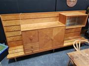 Sale 8822 - Lot 1002 - Art Deco Sideboard with 2 Mounted Cabinets 2 Drawers and Quarter Veneered Doors