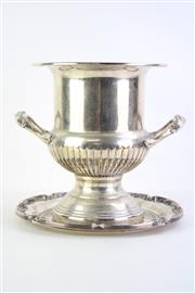 Sale 8835 - Lot 13 - Silver Plated Champagne Bucket (H26cm, Dia 22cm) with a Tray (Dia 28cm)