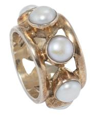 Sale 8965 - Lot 305 - A SILVER GILT FULL HOOP PEARL RING; 12.8mm wide band set with 7 cultured freshwater pearls, size O, wt. 11.5g.