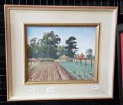 Sale 9077 - Lot 2026 - Artist Unknown, Ploughed Fields and Farmhouse, oil on canvas on board. frame: 33 x 38 cm, initialled lower left -