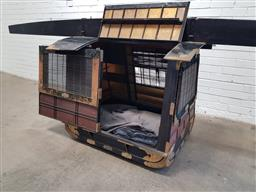Sale 9126 - Lot 1086 - Japanese Probably Meiji Black Lacquer Sedan or Litter, with hinged top and sliding door with a mat screen, applied brass mounts and...