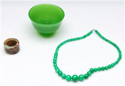 Sale 9164 - Lot 405 - Collection of green wares inc necklace, ring and bowl