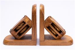 Sale 9185E - Lot 57 - A pair of pulley form bookends, Height 17.5cm