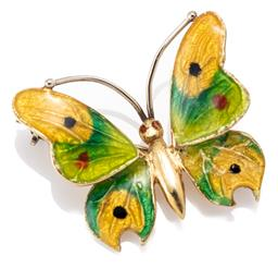 Sale 9186 - Lot 354 - AN 18CT GOLD ENAMELLED BUTTERFLY BROOCH; wings and eyes in polychrome enamel (tiny chips) size 23 x 20mm, wt. 33.70g.