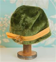 Sale 8448A - Lot 16 - Smart vintage Mr Morton Duchess ladies green faux fur & feather detail ladies cloche hat Made in Italy, featuring large gilded cryst...