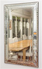 Sale 8575H - Lot 38 - A large Venetian style mirror, with bevelled edge and etched border, can hang portrait or landscape H: 150cm W: 90cm