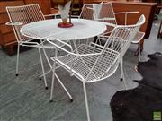 Sale 8625 - Lot 1090 - Vintage Metal Five Piece Outdoor Setting incl. Table & Four Chairs (Table Dia: 75cm)