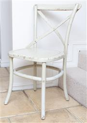 Sale 8866H - Lot 25 - A set of four cream painted crossback chairs, Height of back 89cm